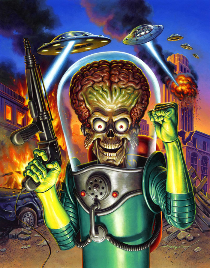 Mars Attacks (1996) poster art by Jason Edmiston
