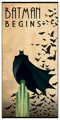 Batman Begins (2005) poster art by Rodolfo Reyes
