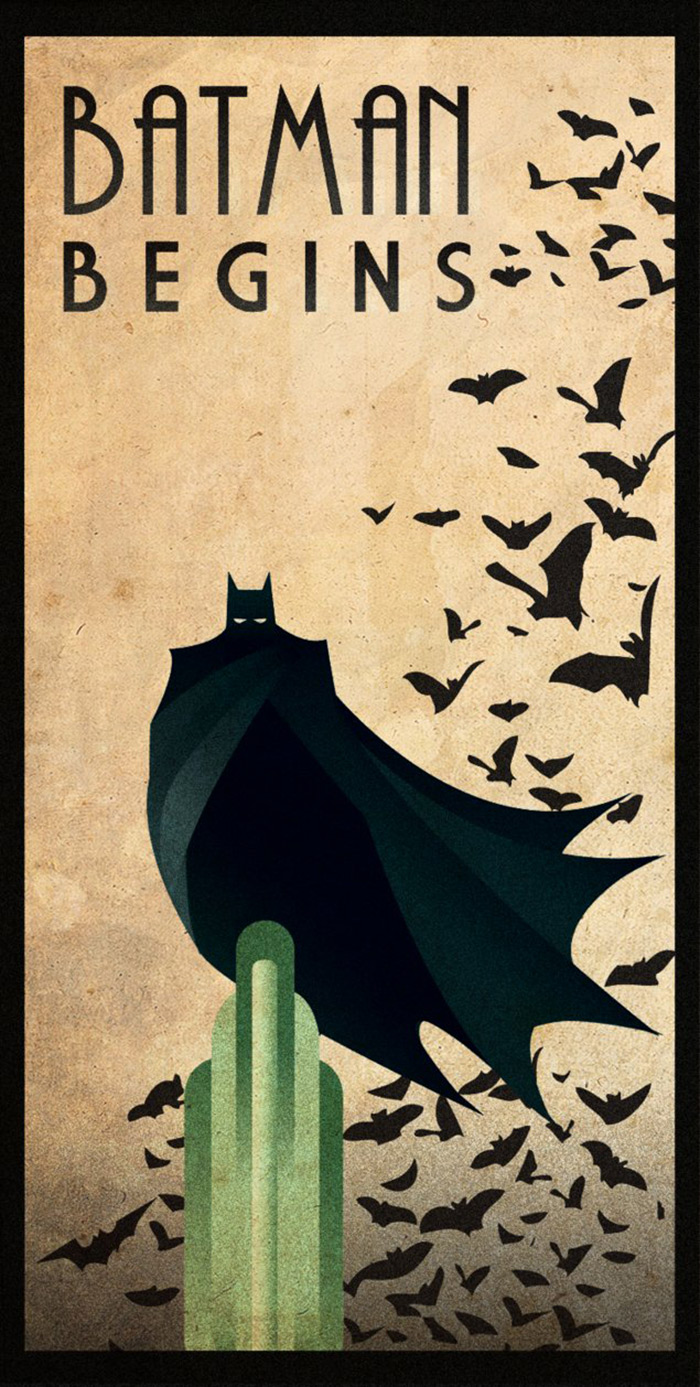 Batman Begins poster art by Rodolfo Reyes