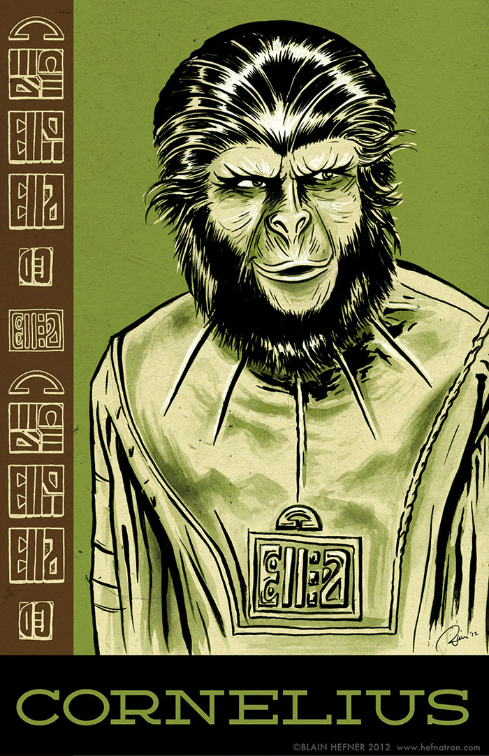 Cornelius from Planet of the Apes poster by Blain Hefner