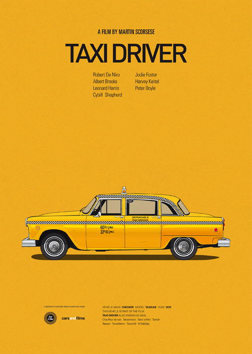 Taxi Driver (1976) poster art by Jesús Prudencio